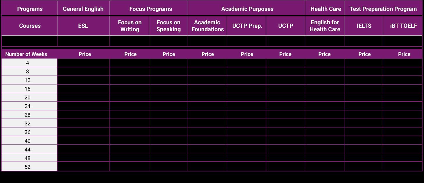tabela de preços ESC